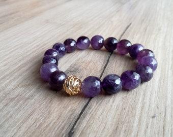 Amethyst bracelet, Birthday Gift, Purple bracelet,Gemstone jewelry