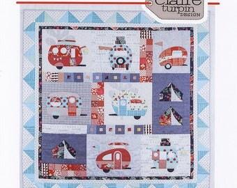 Vantastic Quilt pattern by Claire Turpin Designs. Retro camper appliqué quilt pattern last one