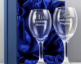 Personalised His and Her Lordship Wine Glass Set. An ideal wedding gift for the happy couple. Free UK Delivery