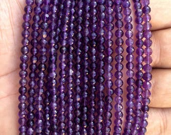 """African AMETHYST Faceted Beads, Size 4MM, 8""""Long Strand/ Israel Cut Beads, Super fine Quality, More Sizes Available, Price per Strand"""