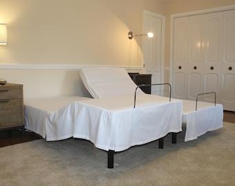 Split King Adjustable Bed Skirt – White