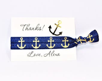 Nautical Party Favor Hair Ties, Gold Foil, Thank You Cards, Birthday, Bridesmaids, Anchor Hair Ties, Knotted Handmade Ponytail, Bachelorette