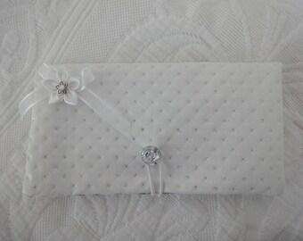 White rhinestones imitation leather checkbook