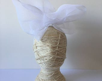 White Statement headpiece / fascinator with fabric on headband / Melbourne Cup Derby Day