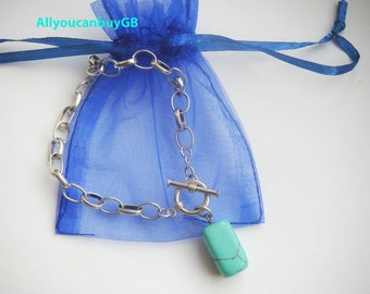 Sterling silver 925 oval link bracelet with turquoise,stamp 925 silver bracelet