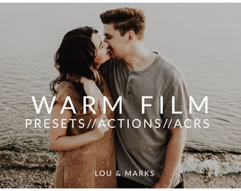 Warm Film Pack for Lightroom & Photoshop Actions, Presets, ACRs for Bright Portrait and Modern Edits in Adobe Lightroom Photoshop