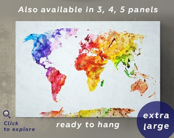 Large Watercolor World Map Canvas Wall Art Abstract world map Wall Art office decor Watercolor print World map art Canvas Wall Art panels