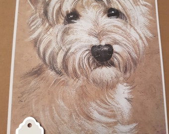 """West Highland Terrier card with """"Especially for you"""" sentiment on the front."""