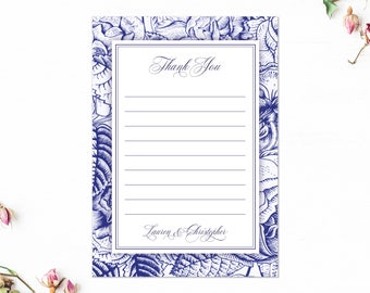 Thank you flat notecards set, Thank you from Mrs & Mr, Navy blue thank you cards, Bohemian thank you cards, A6, Choose Your Colour
