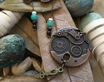 Handmade, Boho, Industrial, Copper Clock and Turquoise Bead, Dangle, Drop, Earring and Pendant Set