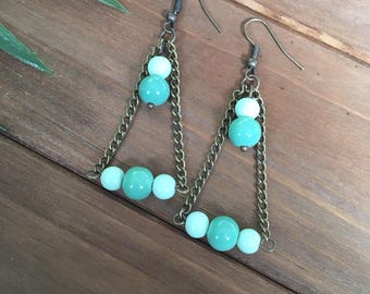Triangle, Bronze, Boho, Industrial, Glass Turquoise and Light Green Pearl Bead and Chain, Dangle, Drop Earrings