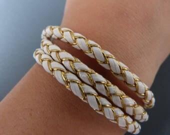 White & gold nautical leather bracelet
