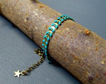 Bracelet chain Br eleven enameled green turquoise spike & star
