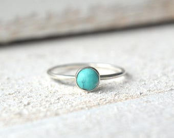 Silver Turquoise Ring, Turquoise Gemstone Ring, Stacking Ring, Dainty Turquoise Ring, Turquoise Stackable Ring, Turquoise Ring Silver