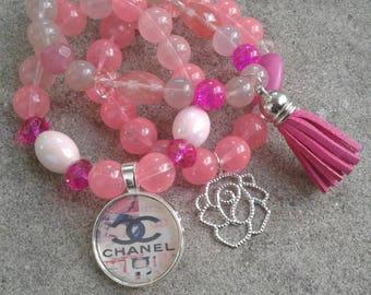 Pink Dazzle Stretch Bracelets, Stacked Bracelets, Womens Jewelry, Beaded Bracelets, Boho Jewelry, Boho Bracelet, Womens Fashion, Wrist wear