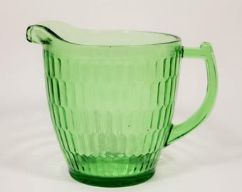 Jeannette Glass Company Green Hex Optic 32 ounce Pitcher with Sunflower Base, 1930s Vintage