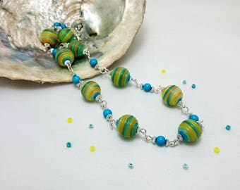 Multicolour necklace | Boho necklace | Long beaded necklace | Ladies rainbow statemtent necklace | Chunky bead necklace | Modern jewellery