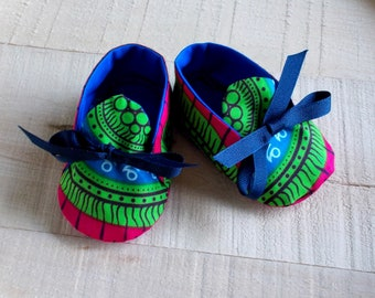Lime Green Red Blue Abstract African Wax Print Baby Booties