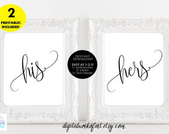 His and Hers Sign, Wedding His and Hers Sign Printable, His and Hers Table Reception Sign, Instant Download, 8 x 10 PDF