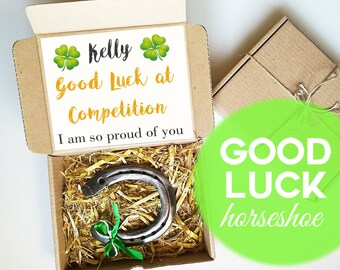 Personalized Good Luck at Competition Gift, Western decor, Lucky Charm, Good Luck Horseshoe, Four Leaf Clover,  Best Of Luck, Horseshoe Art