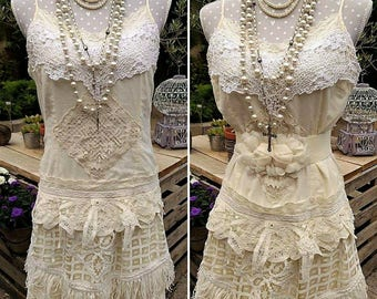 Romantic bohemian dress in lace and English embroidery. Shabby chic dress in vintage fabric, handmade french crochet. Wedding boheme dress.
