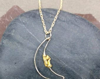 14K Gold Open Crescent Man on the Moon Face Pendant