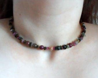 Multicolour Natural Tourmaline Memory Wire Choker