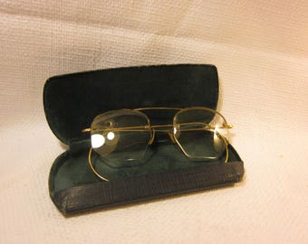 Vintage half wire rim eyeglasses with case, Ross Opticians