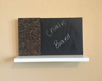 Hanging message board (chalkboard and cork board)