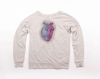 Anatomial Heart on Slouchy Raglan Pullover