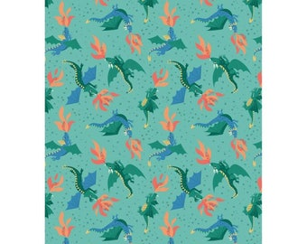 Flying Dragons, Jade , Fire, Fairy Tale, Adventurer, Whimsical Fabric, 100% Quilting Cotton Fabric, Choose Cut