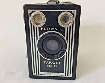 Vintage Kodak Brownie Target SIX-16 Box Camera Art Deco Office Decor Collectible Antique Eastman Wedding Prop