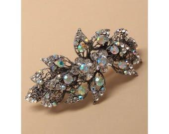 Vintage glass crystal filigree flower barrette, Bridal barrette, French clip, Wedding barrette, Bridal Hair clip. Vintage Hair accessory