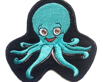 Aufnäher/Bügelbild-Octopus Tintenfisch Tier Kinder-Blau-8 x 7.1 cm-by catch-the-Patch ® patch Aufbügler Applikationen zum Aufbügeln Applikation Patches Flicken