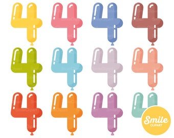 Number Four Balloon Clipart Illustration for Commercial Use   0511