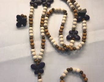 Set wood and Purple Butterfly beads
