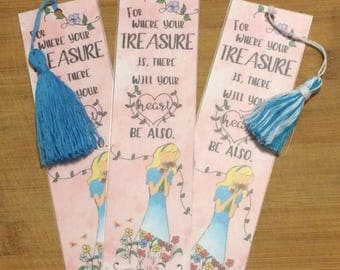 Bible Verse Bookmark - John 15:13 -  handmade WITHOUT tassel  (stock #8) where your treasure is...