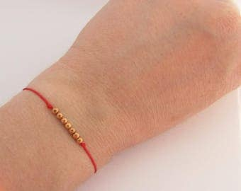 Red String Bracelet and 7 beads plated rose gold - Creation of sparkle
