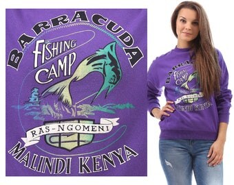 BARRACUDA Fishing Camp Sweatshirt 80s Unisex Sweater Fish Screen Print Winter Cozy Long Sleeve Cotton Purple Jumper 80s Pullover Medium