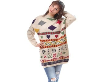 Geometric Heart Patterned Sweater 80s Vintage White Wool Sweater Winter Long Line Jumper Colorful Knitwear Abstract  Boho Ski Pullover Large