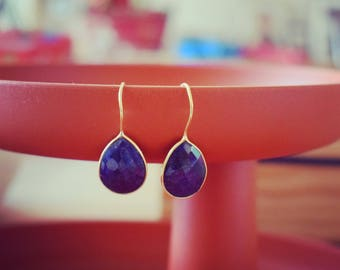 Blue sapphire 24k gold plated earrings