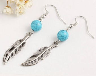 Turquoise & Feather Drop Earrings
