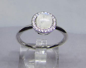 Female ring silver Moonstone and Zirconium (iridescent jewel). 25% with code: SOLD17