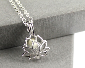 Sterling Silver Lotus Flower Locket with Fillable Glass Orb, Memorial Jewellery, Urn Locket, Fillable Jewelry, Cremation necklace
