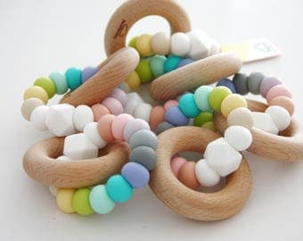Silicone & Wood OH MAMI BLUE Baby Teether - Mordedor - Chupetero - Schnullerkette - hochet - Beißring