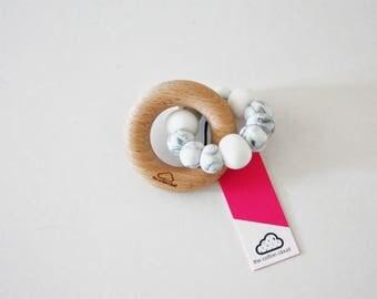 Silicone & Wood CLOUD Baby Teether - Mordedor - Chupetero - hochet - Beißring