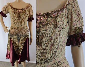 """Victorian era """"frankenstein"""" dress with maroon satin skirt modern size small 1800s"""
