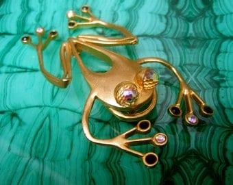 Massive Crystal Gilt Metal Frog Brooch Designed by Lee Wolfe