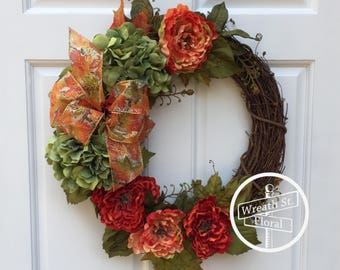 Fall Wreath, Autumn Wreath, Hydrangea Wreath, Harvest Wreath, Front Door Wreath, Wreath Street Floral, Grapevine Wreath, Orange Wreath