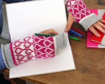 Cashmere knitted wristwarmers - fairisle pattern - Luxury fingerless mitts - grey pink ivory mittens - machine knitted